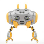 Aerial orange Cheburashka robot with funny ears backwards