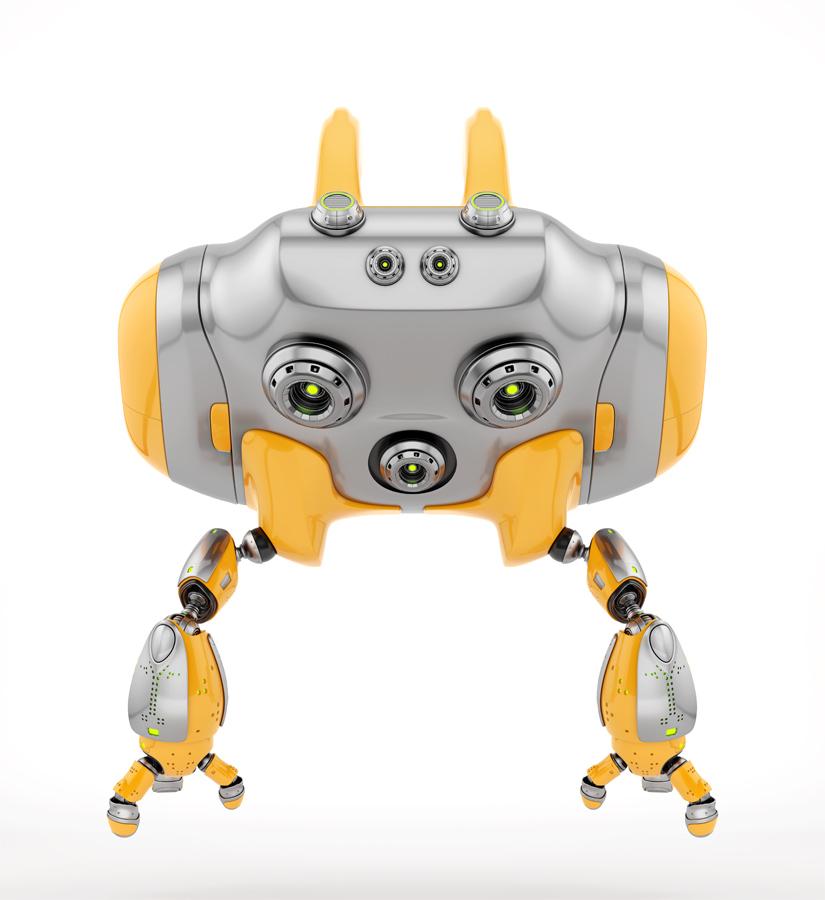 Aerial orange Cheburashka robot with funny ears backwards