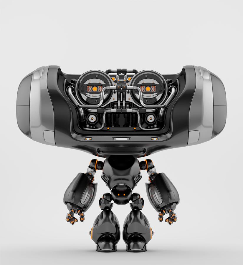 Steel black Cheburashka robot toy