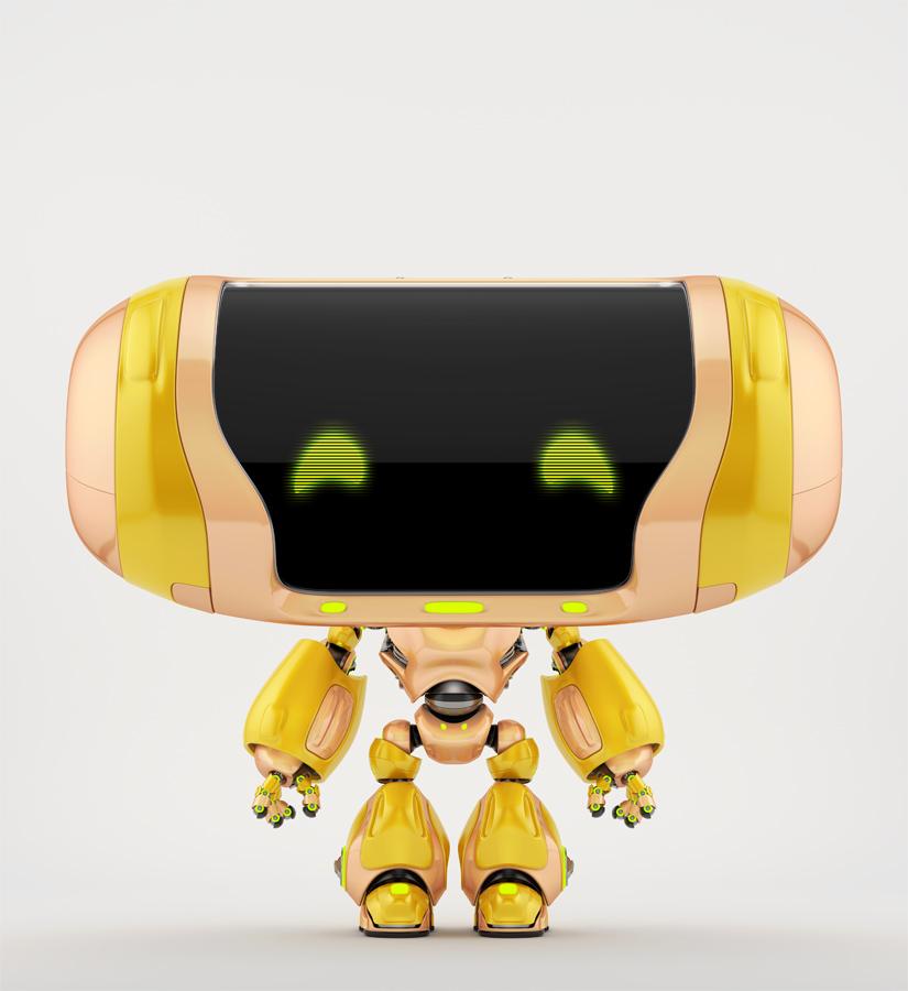 Friendly orange robot Cheburashka