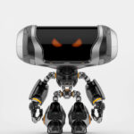 Angry Cheburashka robot with transparent bust