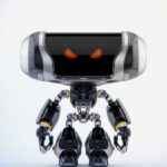 Angry Cheburashka robot with transparent bust II