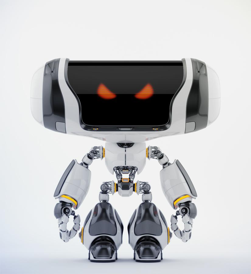 Angry white-black Cheburashka robot