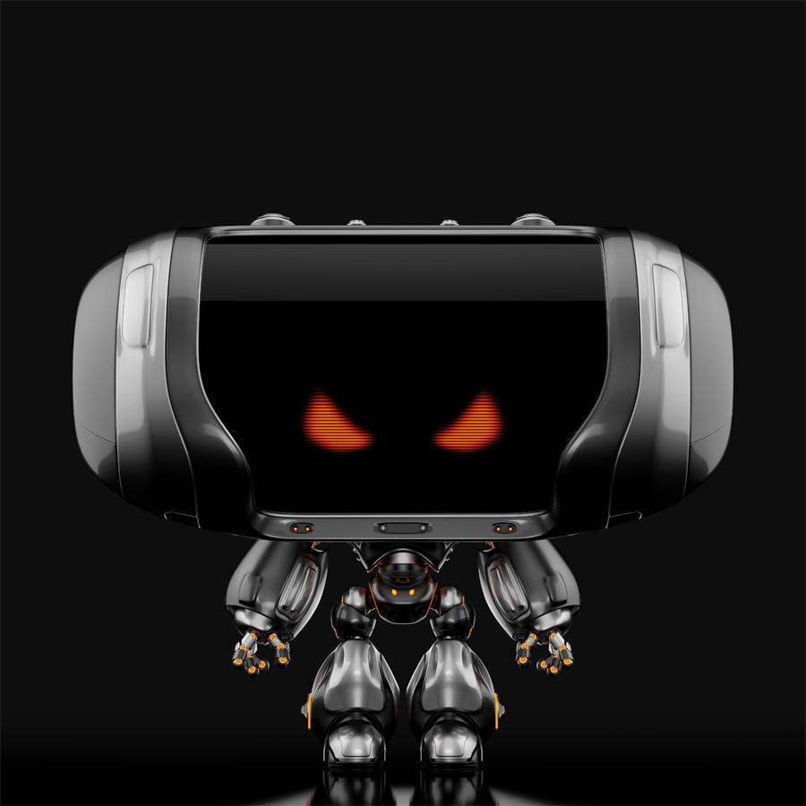 Angry Cheburashka robot on black back