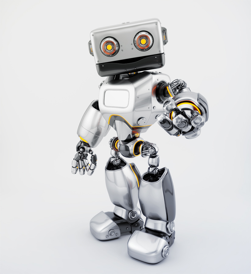 Silver old-styled robot pointing
