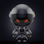 Juicy black circle robot on dark background