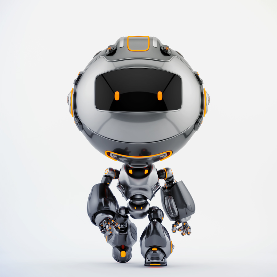 Black Robert bot walking forward