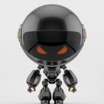 Angry black Robert bot with head down