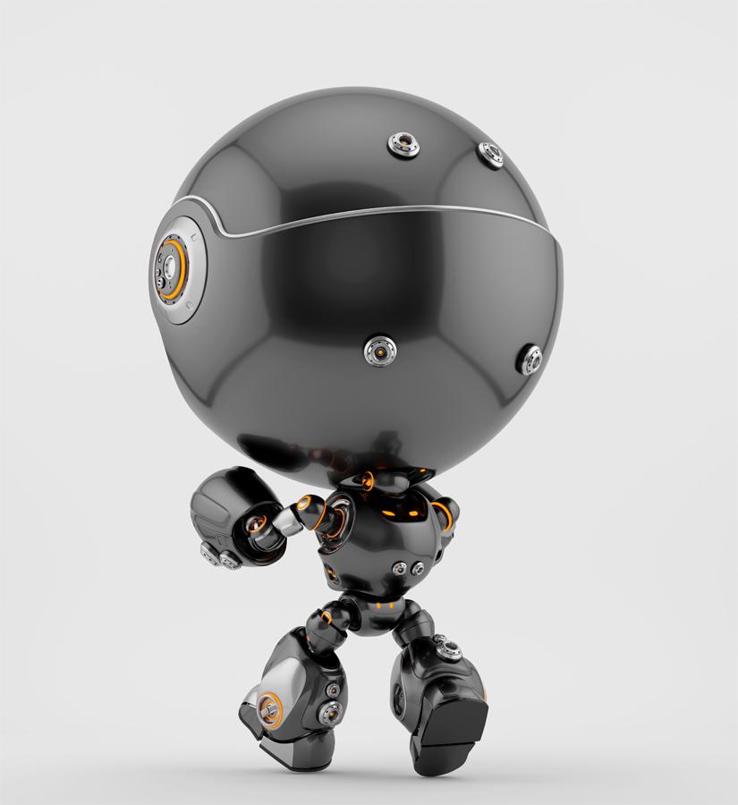 Angry black Robert bot sleepwalker backwards