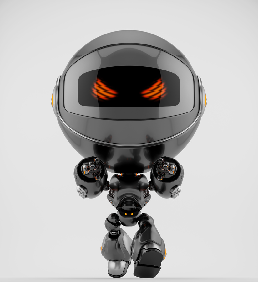 Angry black Robert bot walking forward and pointing on you