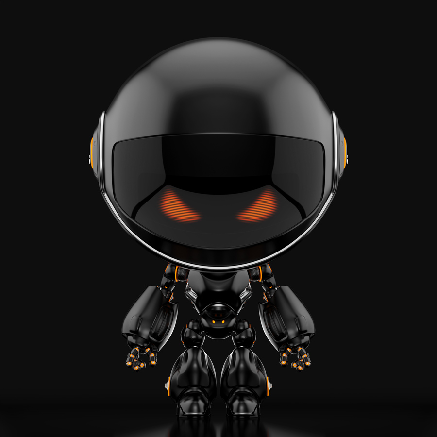 Juicy black circle robot on dark background