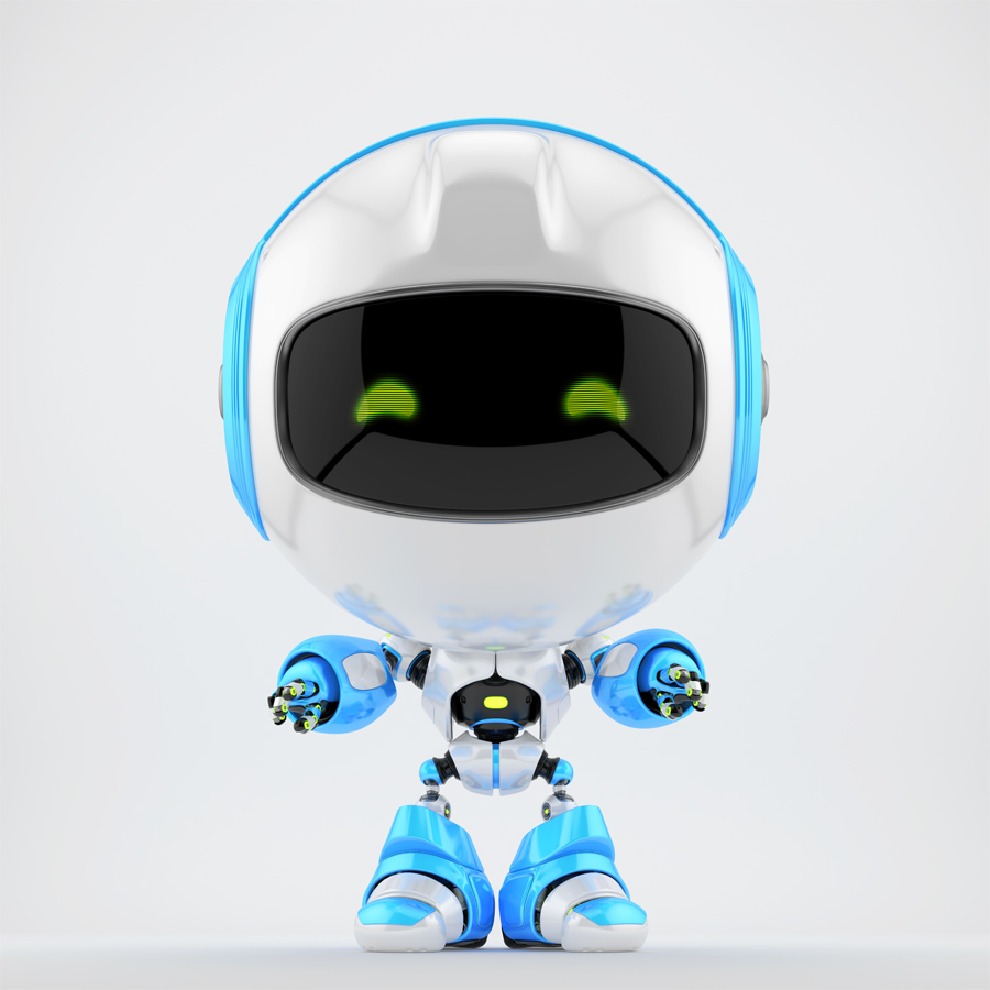 White-blue Robert robot pulling its hands to you