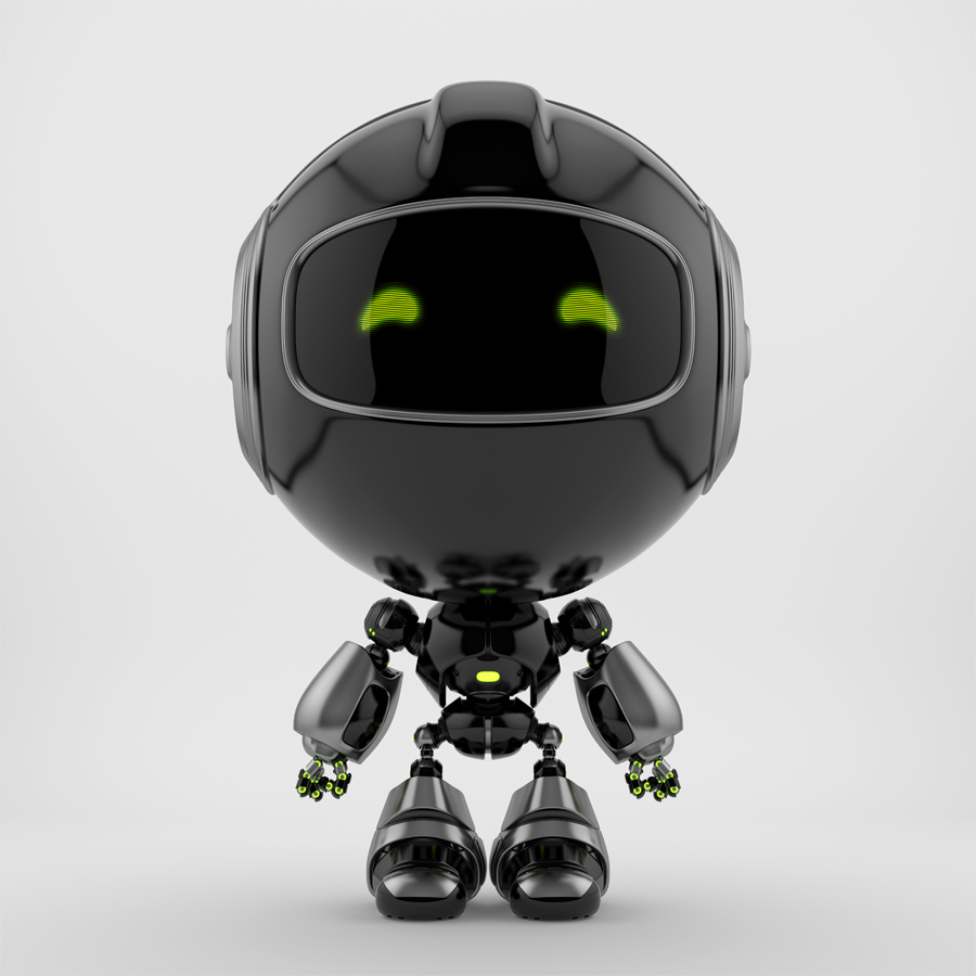 Black PR robot in front