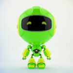 Green PR robot in front