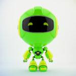 Green PR robot in front