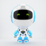 White-blue PR robot in front
