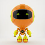 Orange PR robot in front