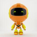 Orange PR robot in front