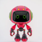 Cute crimson robot
