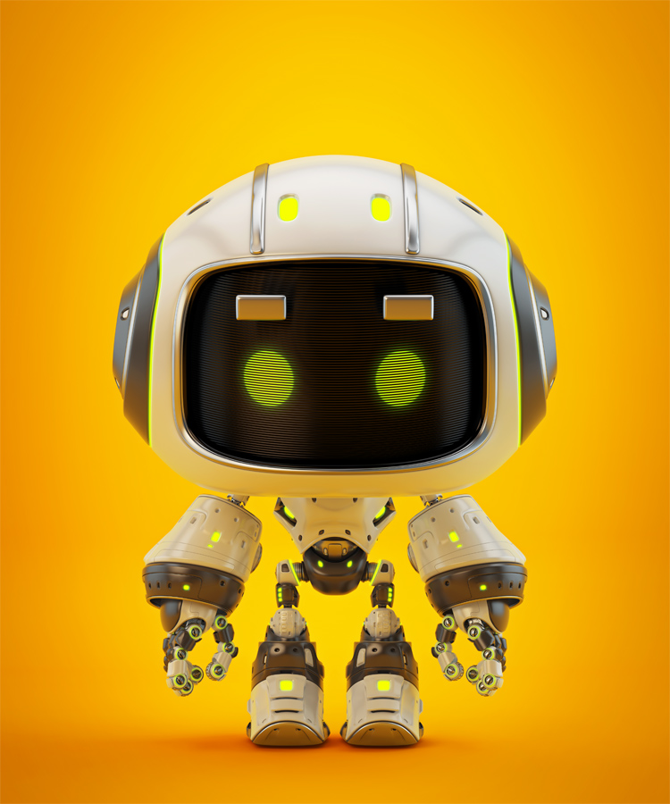 Cute white bot with aerial eyebrows