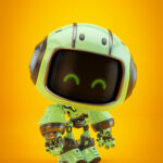Cute green bot in side angle