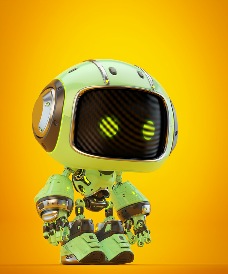 Cute green bot in side angle V