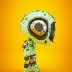 Cute green bot in profile