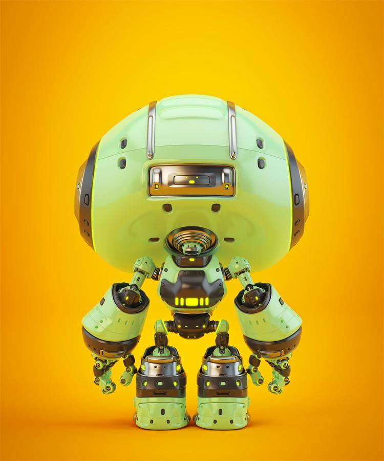 Cute green bot backwards