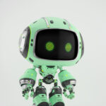 Cute turquoise bot in side angle