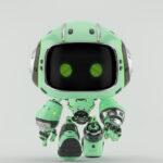 Cute turquoise bot walking