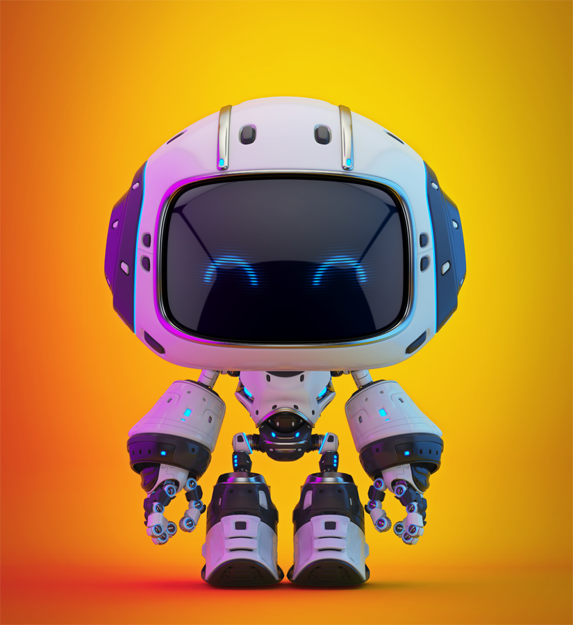 Cute white bot with violet reflection