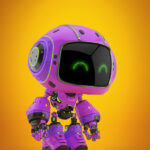Cute violet bot in profile