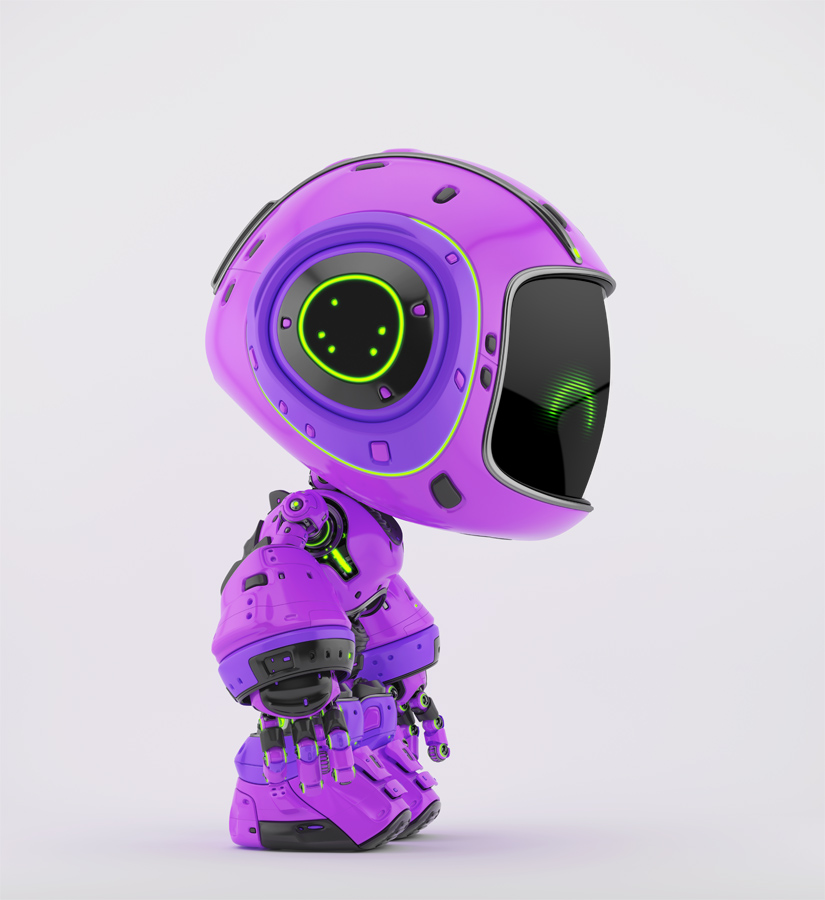 Cute violet bot in side angle