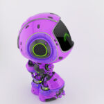 Cute violet bot in upper side angle