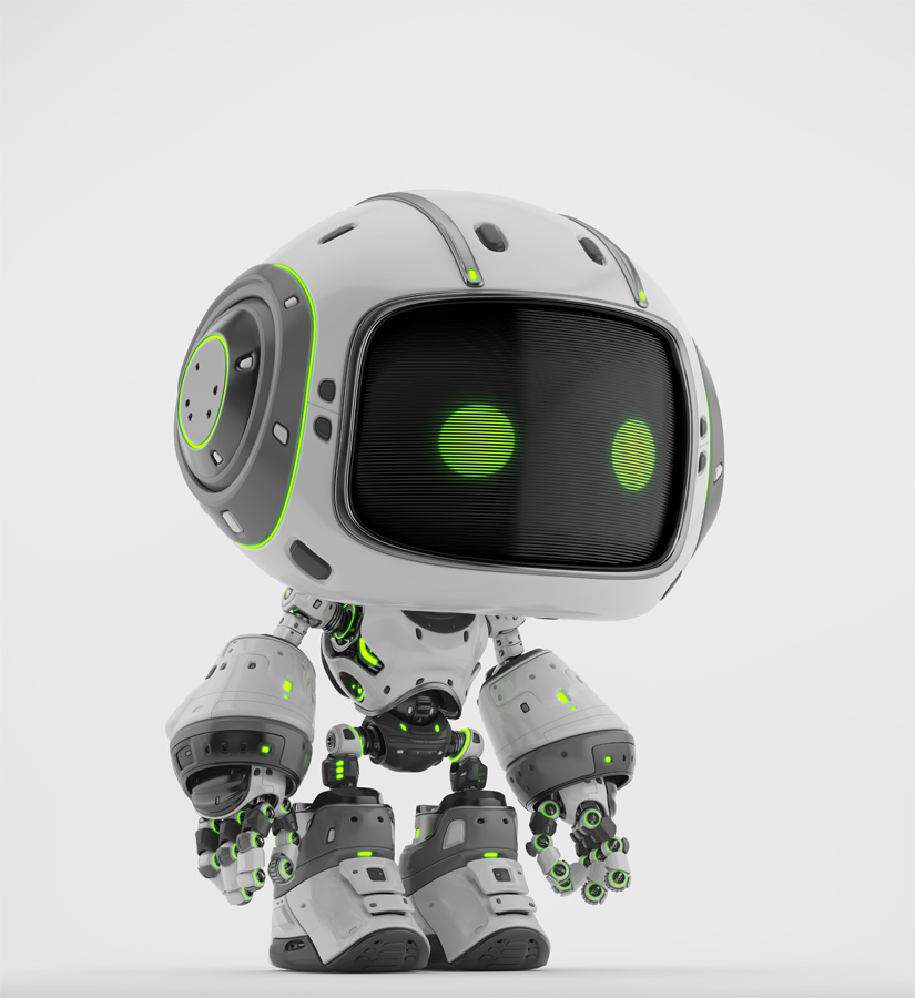 Cute white bot in semi-side angle