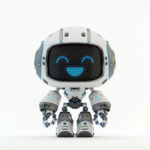 Cute white bot with digital smiling face