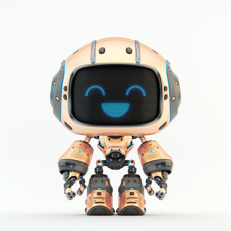 Cute yellow bot with digital smiling face