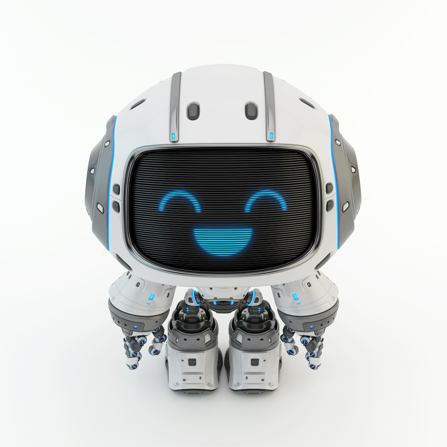Cute white bot with digital smiling face upper view