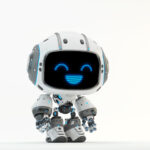 Cute white bot with digital smiling face II