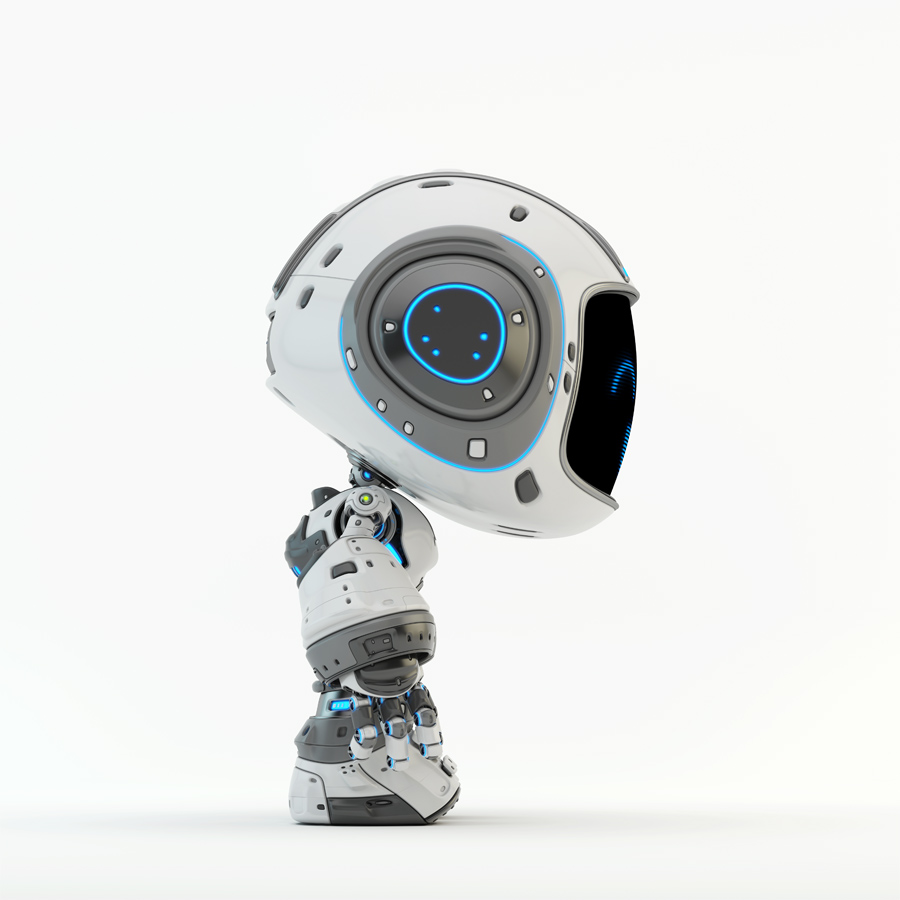 Cute white bot in side angle