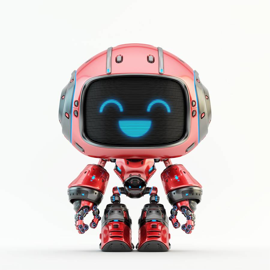 Cute red bot with digital smiling face