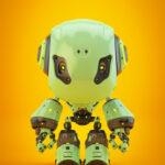 Bbot smart robot in green on bright orange background
