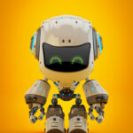 White android robot toy MOCCO on colorful back