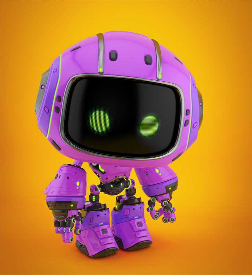 Cute violet bot in upper view