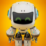 White android robot toy MOCCO on colorful back upper view