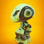 Green Bbot smart robot in side angle