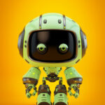 Cute green bot with real eyes
