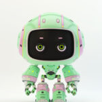 Cute green bot with real eyes and black face II