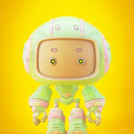 Cute green bot with real eyes and cartoon face