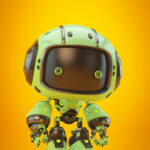 Cute green bot with real eyes and black face in side angle
